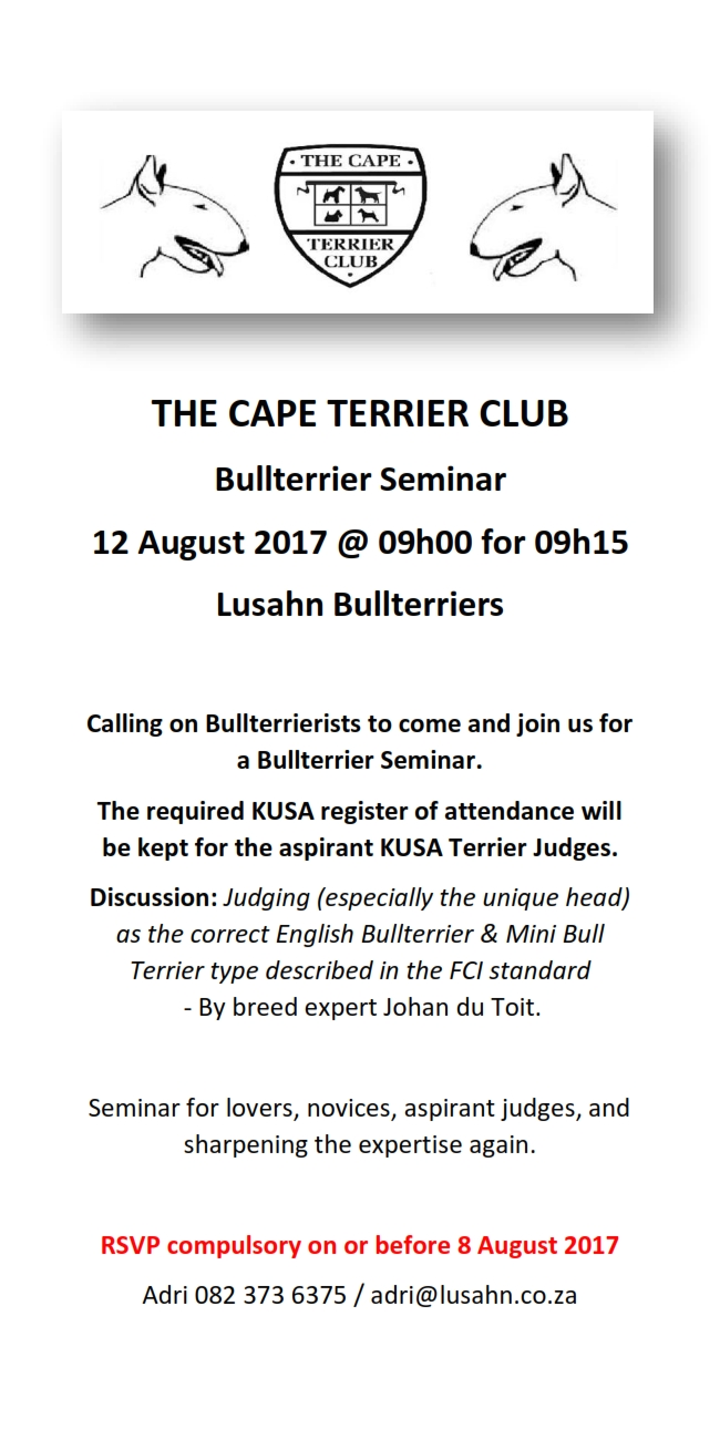 Cape Terrier Seminar KUSA Website
